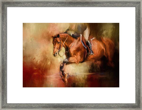 Clearing The Jump Equestrian Art Framed Print