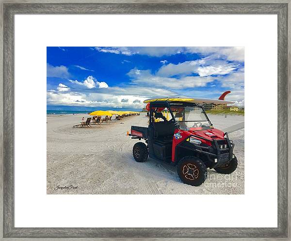 Clearwater Beach Lifeguard Atv Framed Print