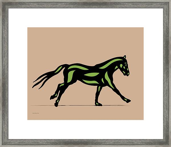 Clementine - Pop Art Horse - Black, Geenery, Hazelnut Framed Print