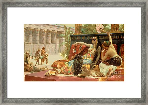 Cleopatra Testing Poisons On Those Condemned To Death Framed Print
