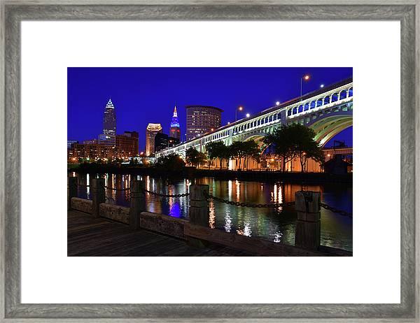 Cleveland Boardwalk Skyline Framed Print