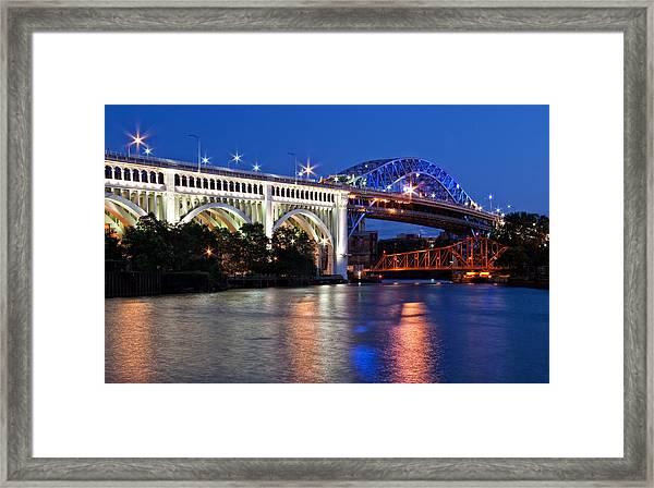 Cleveland Colored Bridges Framed Print
