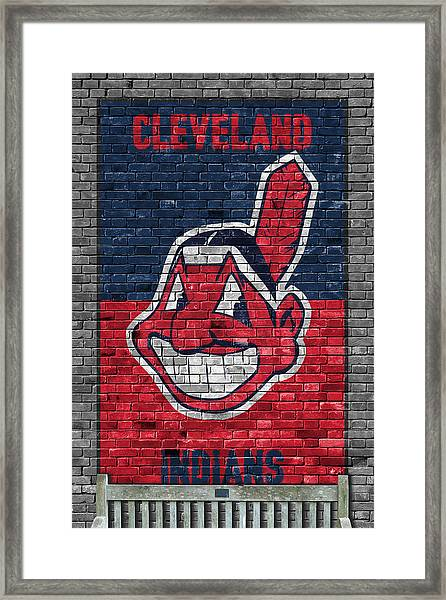 Cleveland Indians Brick Wall Framed Print