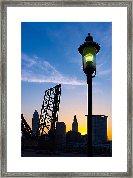 Cleveland Morning By The Lamp Post Framed Print