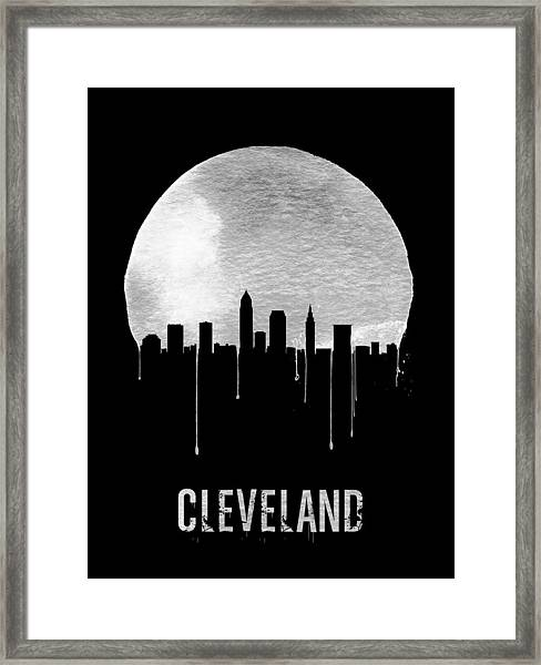Cleveland Skyline Black Framed Print