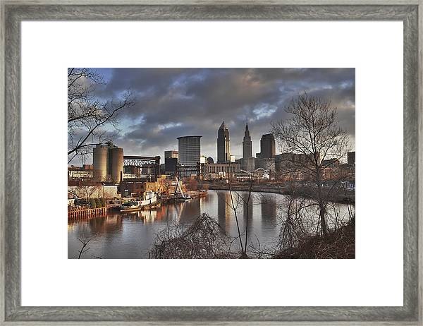 Cleveland Skyline From The River - Morning Light Framed Print
