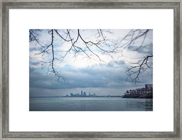 Cleveland Skyline With A Vintage Lens Framed Print