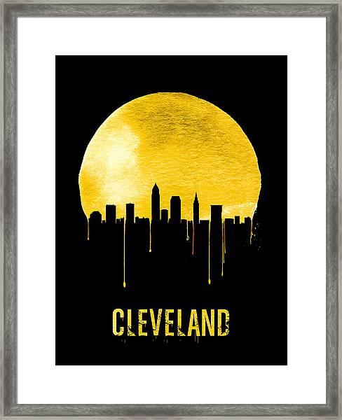 Cleveland Skyline Yellow Framed Print