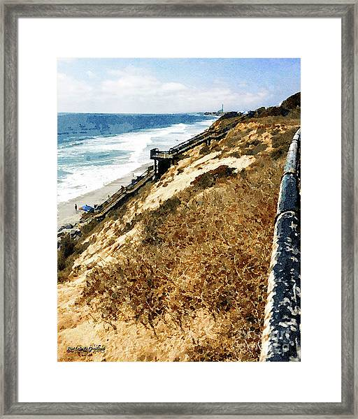 Cliff View - Carlsbad Ponto Beach Framed Print