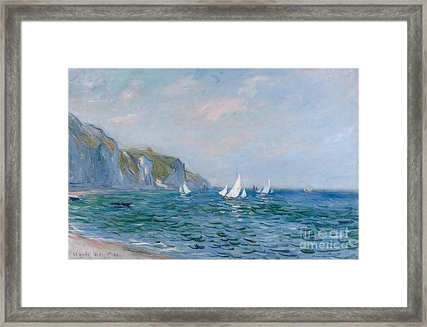 Cliffs And Sailboats At Pourville  Framed Print