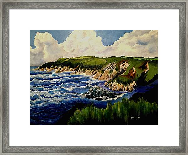 Cliffs And Sea Framed Print