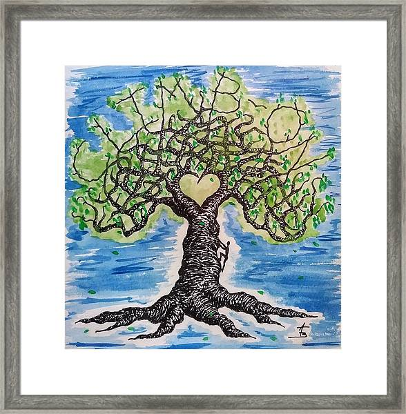 Framed Print featuring the drawing Climb-on Love Tree by Aaron Bombalicki