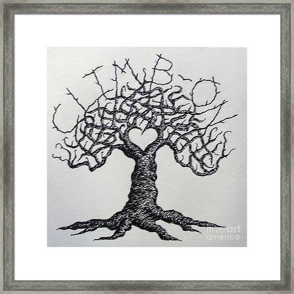 Framed Print featuring the drawing Climb-on Love Tree- Blk/wht by Aaron Bombalicki