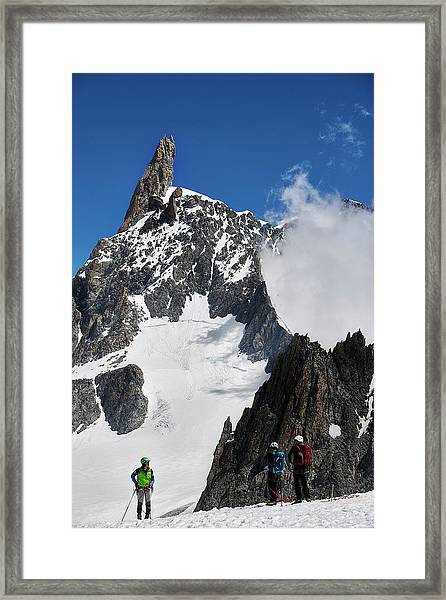 Climbing In The Alps Framed Print