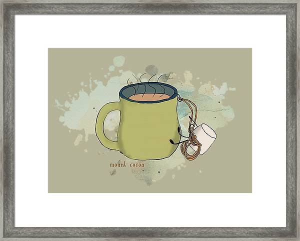 Climbing Mt Cocoa Illustrated Framed Print