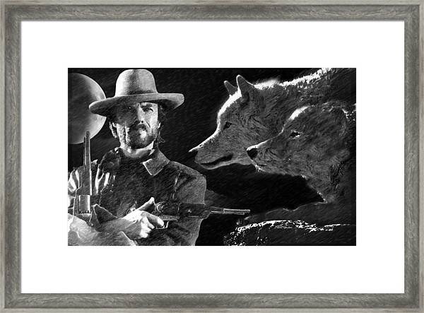 Clint Eastwood With Wolves Framed Print