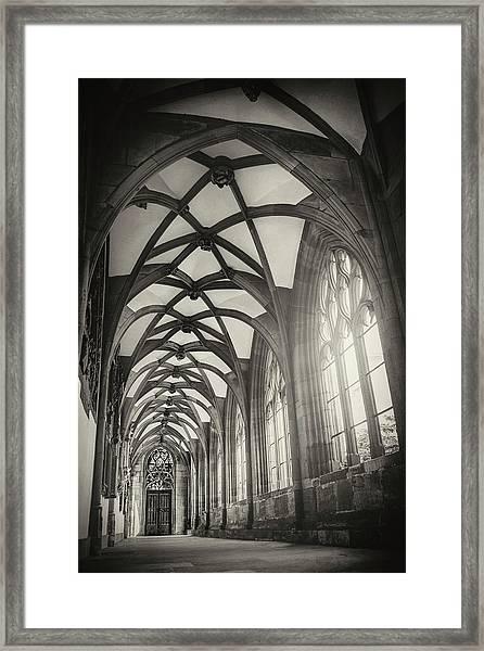 Cloisters Of Basel Munster Switzerland In Black And White  Framed Print