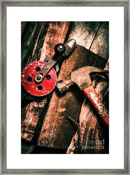Close Up Of Old Tools Framed Print