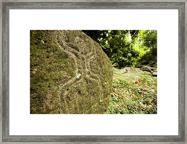 Closeup Of Petroglyph, Fatu Hiva Island Framed Print