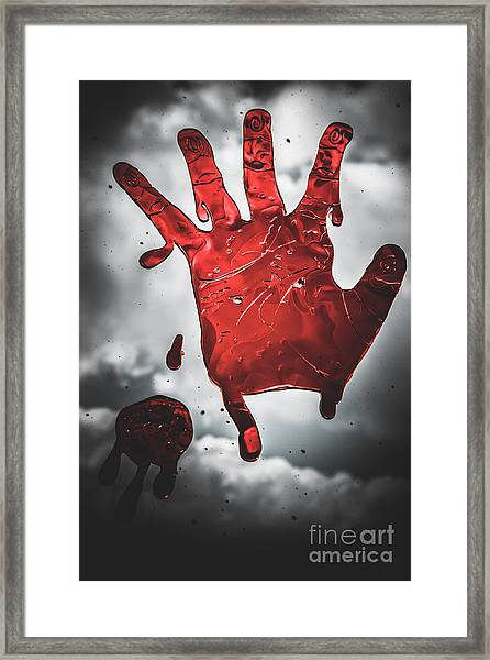 Closeup Of Scary Bloody Hand Print On Glass Framed Print