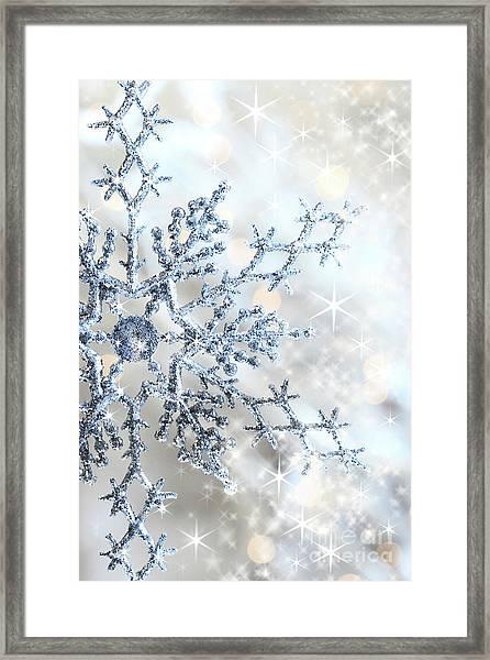 Closeup Of Snowflake Framed Print
