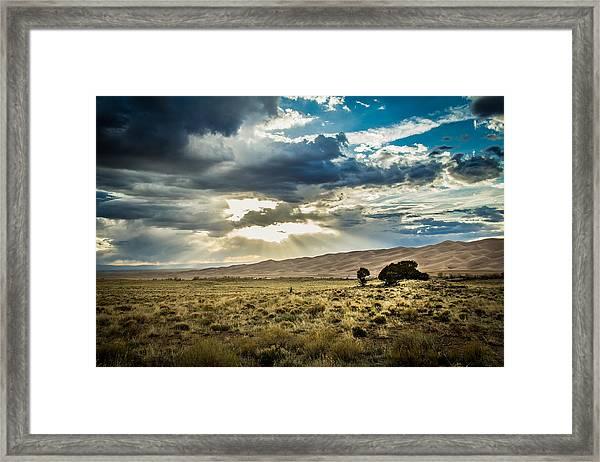 Cloud Break Over Sand Dunes Framed Print