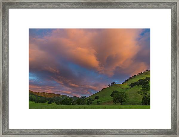 Clouds Above Round Valley At Sunrise Framed Print