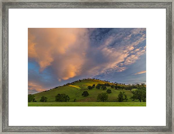 Clouds And Hill At Sunrise Framed Print