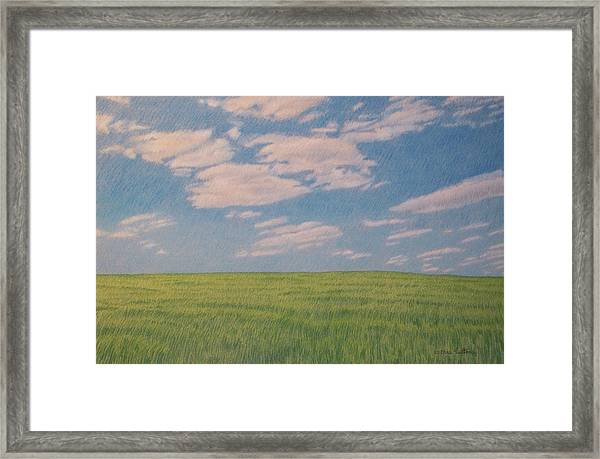 Clouds Over Green Field Framed Print