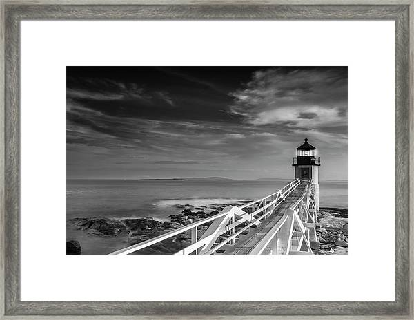 Clouds Over Marshall Point Lighthouse In Maine Framed Print