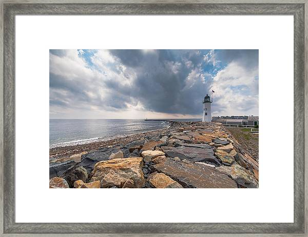 Clouds Over Old Scituate Light Framed Print
