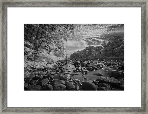 Clouds Over The River Rocks Framed Print