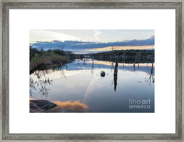 Clouds Reflecting On Large Lake During Sunset Framed Print