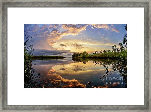 Framed Print featuring the photograph Clouds Reflections by DJA Images