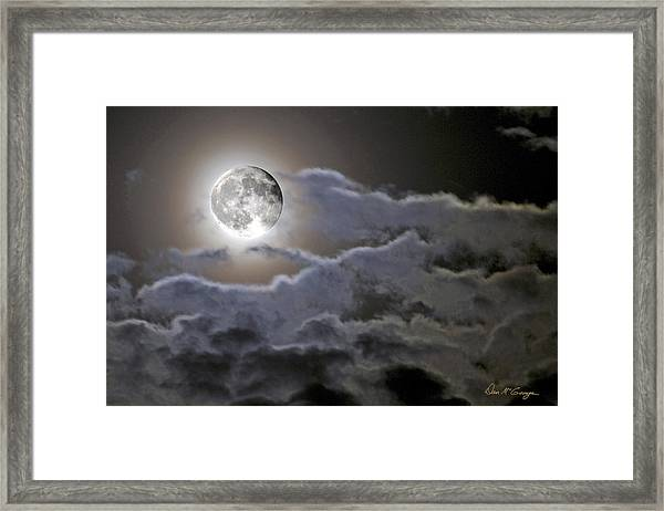 Cloudy Moon Framed Print