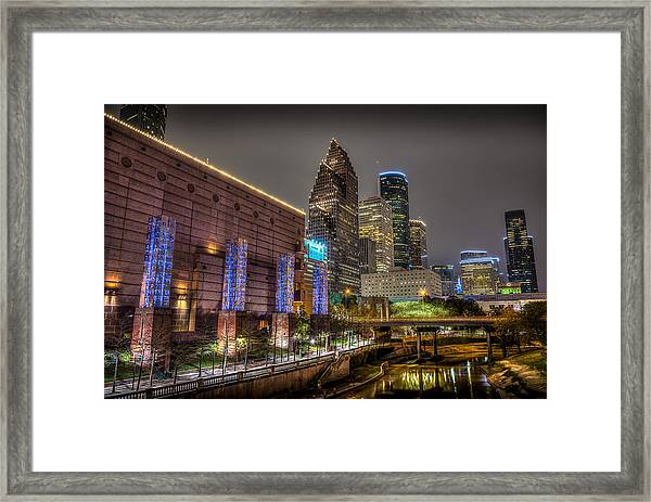 Cloudy Night In Houston Framed Print