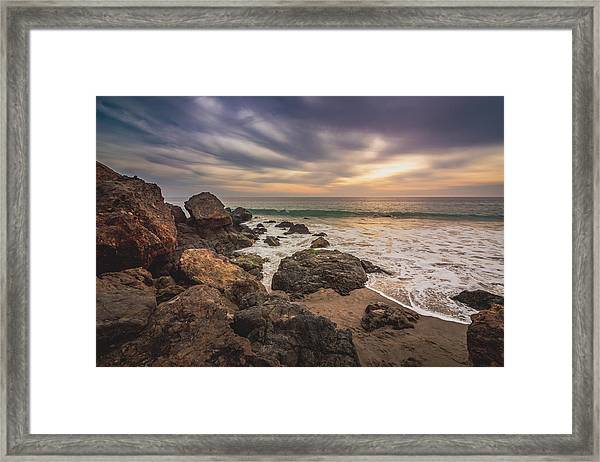 Cloudy Point Dume Sunset Framed Print