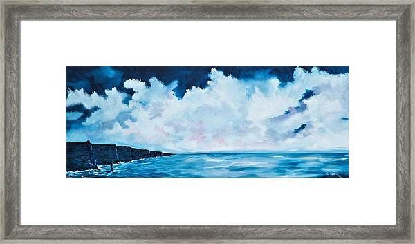 Cloudy Skies Over The Cliffs Of Moher Framed Print