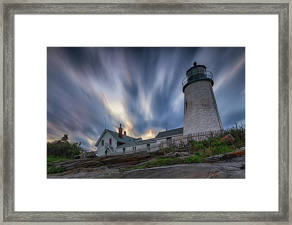 Cloudy Sunset At Pemaquid Point Framed Print