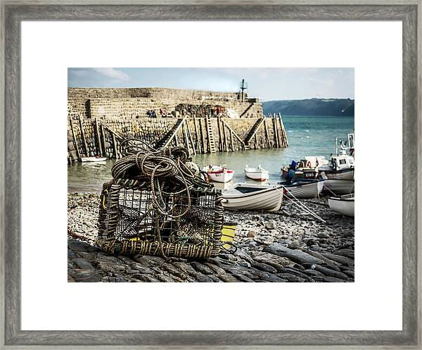 Framed Print featuring the photograph Clovelly Crab Trap by Nick Bywater