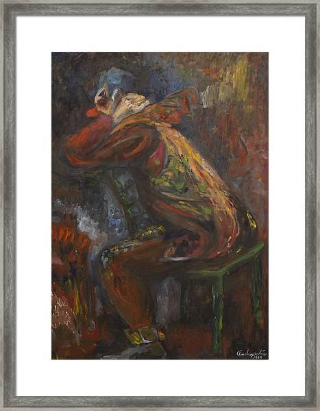 Clown In Meditation Framed Print