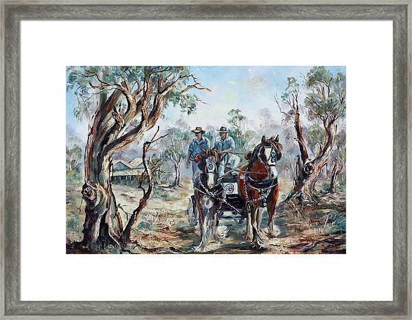 Clydesdales And Cart Framed Print