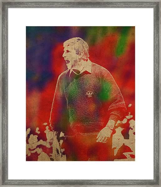 Coach Bobby Knight Watercolor Portrait Framed Print