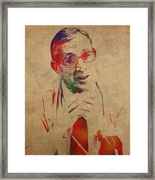 Coach John Wooden Watercolor Portrait Framed Print
