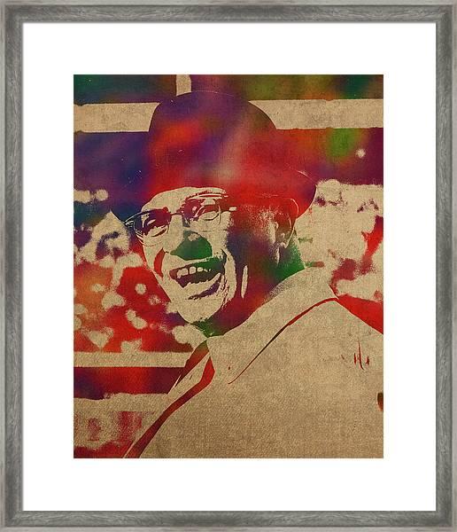 Coach Vince Lombardi Watercolor Portrait Framed Print