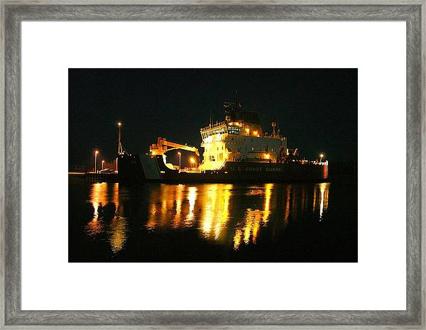 Coast Guard Cutter Mackinaw At Night Framed Print