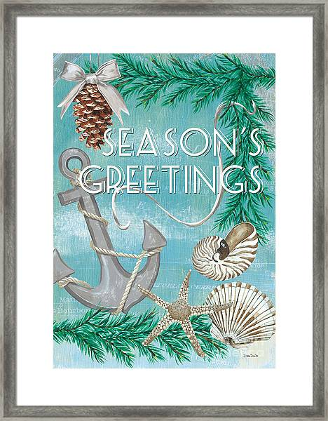 Coastal Christmas Card Framed Print