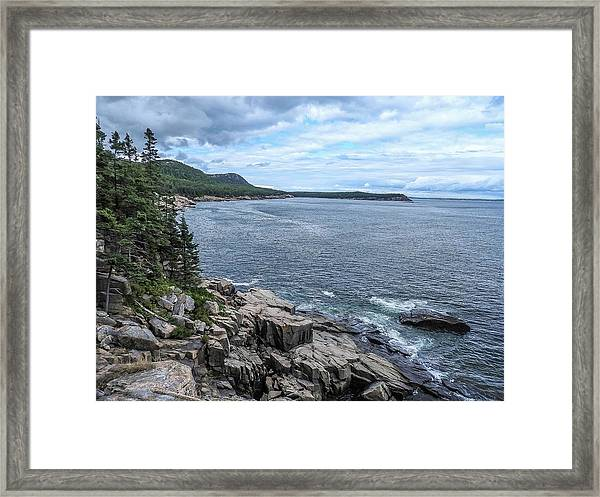 Coastal Landscape From Ocean Path Trail, Acadia National Park Framed Print