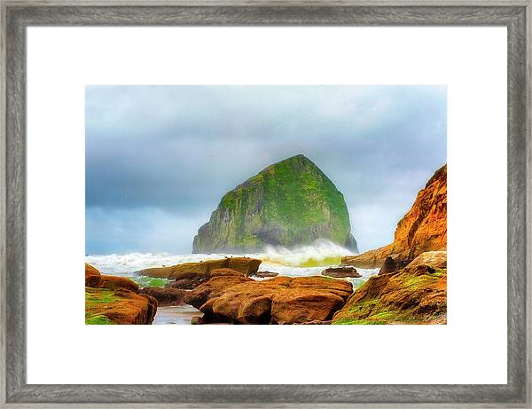 Framed Print featuring the photograph Coastal Storm At Haystack by Dee Browning