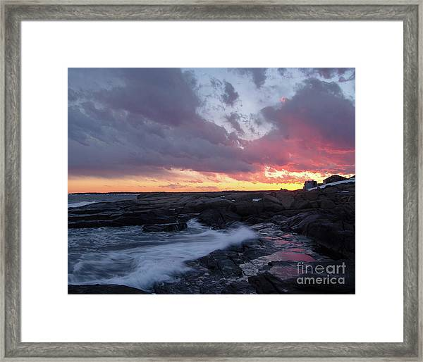 Coastal Sunset Cape Neddick - York Maine  -21056 Framed Print